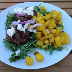 goat cheese, arugula, red onion, and golden beets