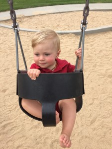 Swinging at the many parks on our walks & runs.
