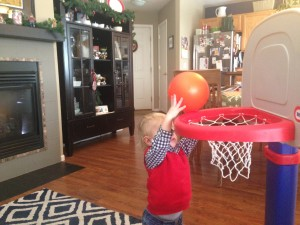 The basketball hoop from Nana & Grandpa was an instant hit.